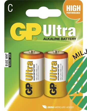 Batteri GP Alkaline Ultra LR14 C, 2-pack