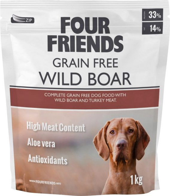 Hundfoder Four Friends Grain Free Vildsvin, 1 kg